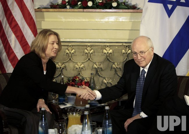 Israel's Foreign Minister Livni shakes hands with U.S. Vice President Cheney in Jerusalem