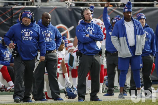 Giants head coach Pat Shurmur watches from the sidelines a NFL game against Bears in Chicago