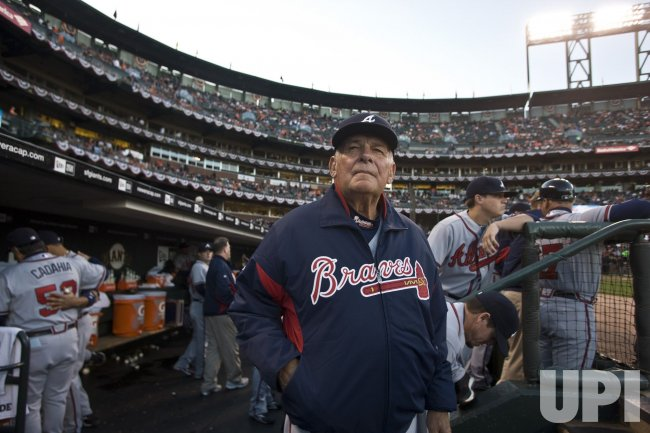 Atlanta Braves manager Bobby Cox surveys AT&T Park in San Francisco