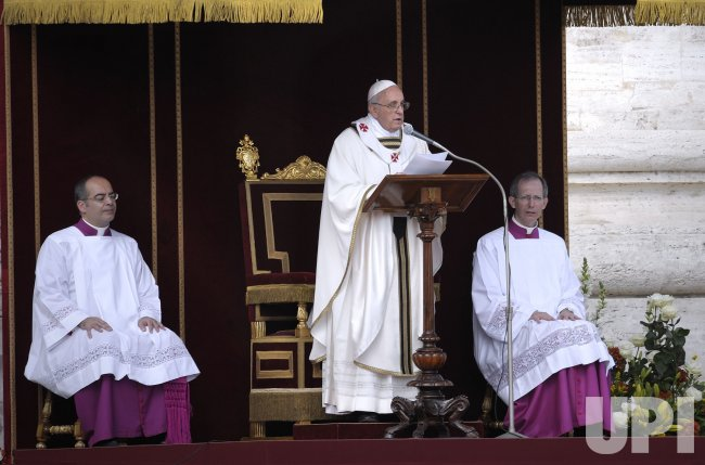 Pope Francis celebrates his inauguration mass at the Vatican
