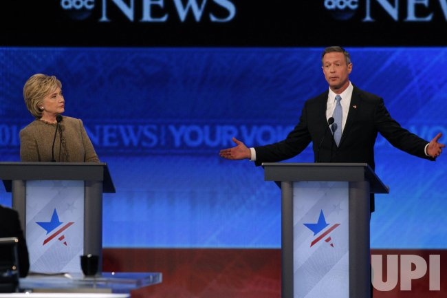 Martin O'Malley and Hillary Clinton at Democratic Presidential Debate in New Hampshire