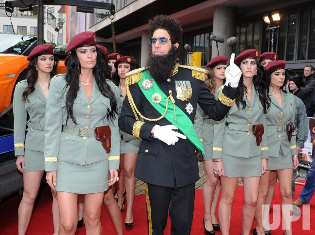"Sacha Baron Cohen as Admiral General Aladeen attends the World premiere of ""The Dictator"" in London."