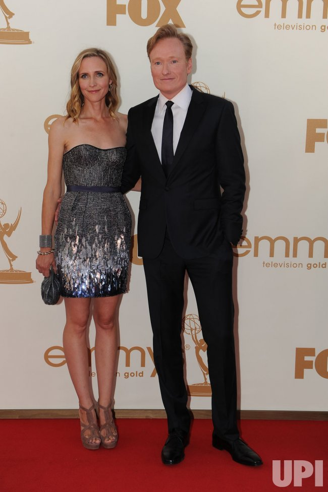 Conan O'Brien and wife Liza Powell arrive at the Primetime Emmy Awards in Los Angeles