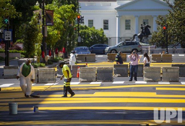 Washington DC City Workers RePaint Black Lives Matter Plaza