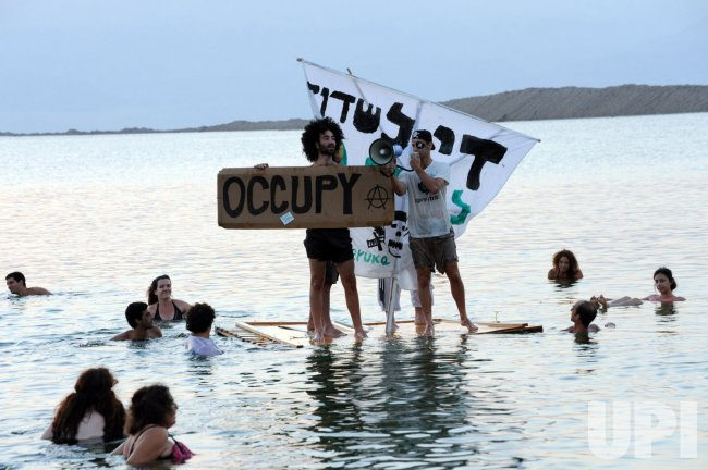 Environmental Protest Float Dead Sea