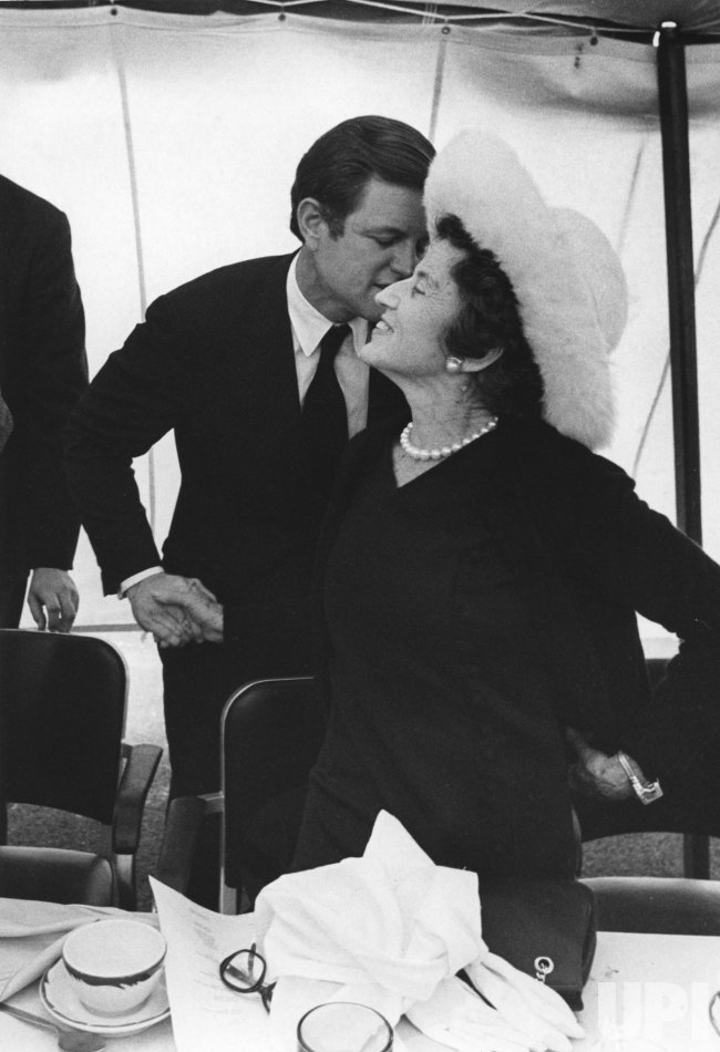 Sen. Ted Kennedy kisses mother Rose Kennedy