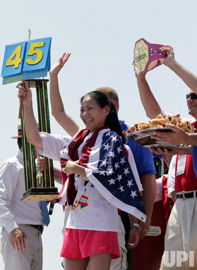 "Sonya ""The Black Widow"" Thomas wins the Nathan's Fourth of July Hot Dog Contest in New York"