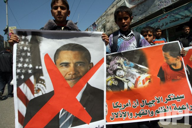Palestinians in Gaza Protest Obama's Visti to the Region