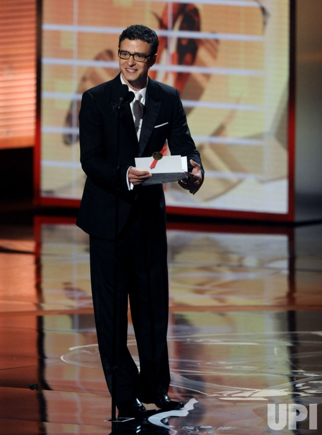 Justin Timberlake presents an award at 61st Primetime Emmy Awards in Los Angeles