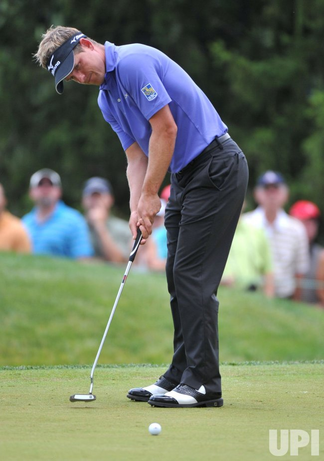 Luke Donald of England putts at the US Open in Maryland