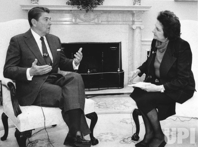 President Ronald Reagan interviewed UPI White House reporter Helen Thomas