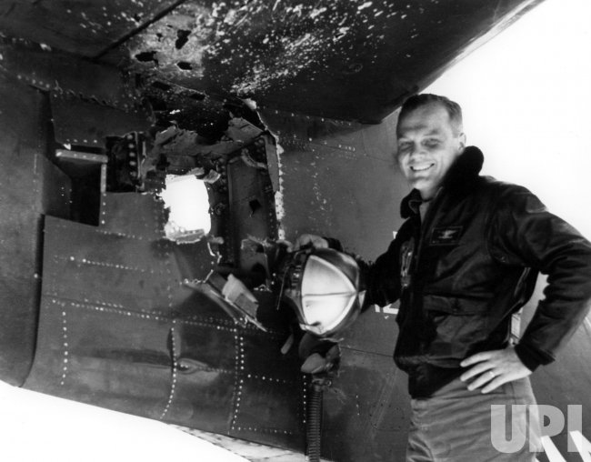 JJOHN GLENN INSPECTING HIS PLANE IN KOREA