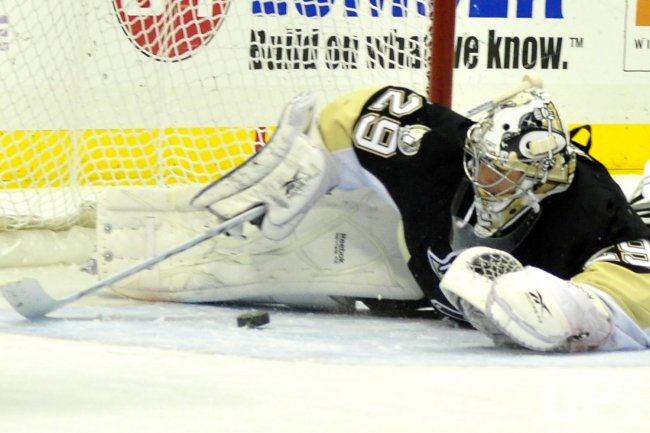 Pittsburgh Penguins Marc-Andre Fleury Makes Save in Pittsburgh