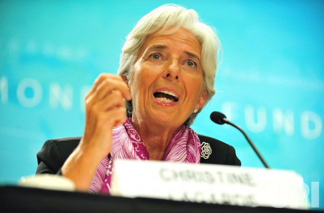 IMF Managing Director Christine Lagarde holds a news briefing in Washington