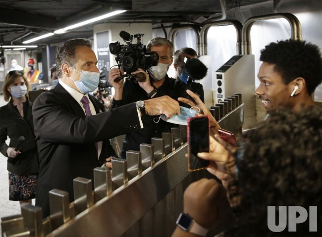 Governor Cuomo rides subway on day one of NYC reopening plan