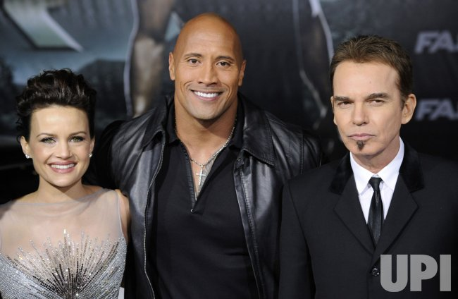 "Carla Gugino, Dwayne Johnson and Billy Bob Thornton attend the premiere of the film ""Faster"" in Los Angeles"