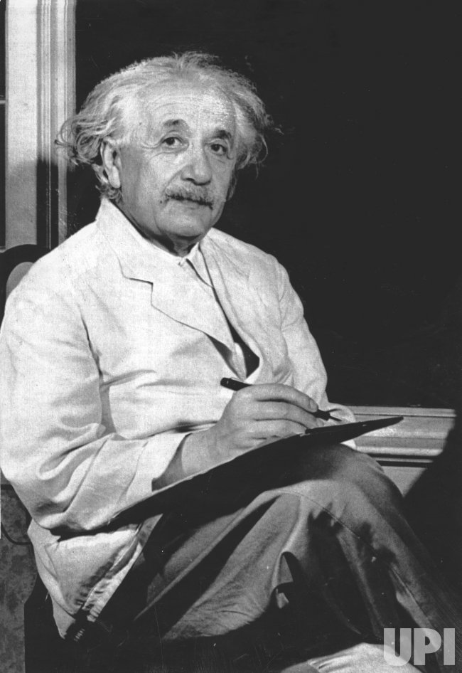 Albert Einstein, in a 1943 photo, probably taken in Princeton, NJ. (UPI Photo/Files)
