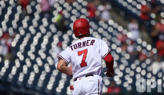 Nationals Turner Hits Homer Against Braves in Washington