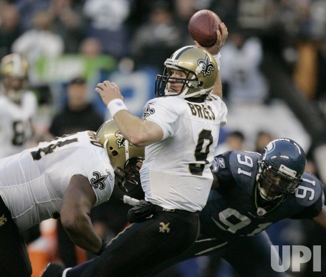 New Orleans Saints' quarterback Drew Brees passes against the Seattle Seahawks in Seattle.