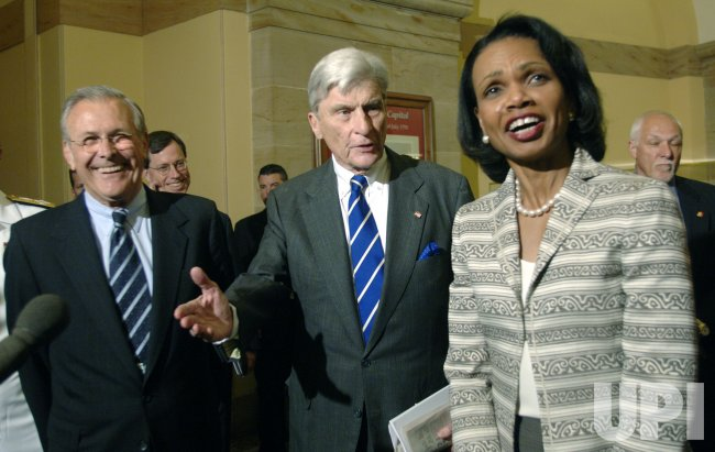RUMSFELD AND RICE MEET WITH SENATORS ABOUT IRAQ