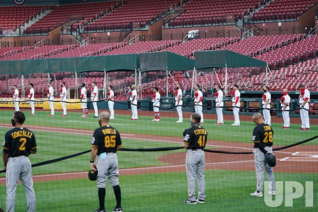 Unity Moment Before Pittsburgh - St. Louis Baseball Game