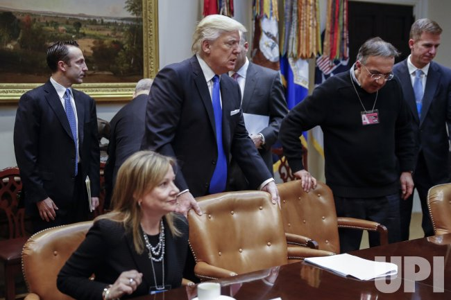 US President Donald Trump meets with automobile industry leaders