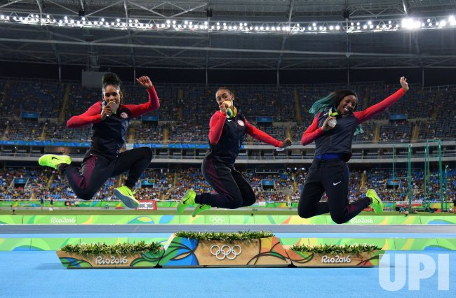 Gold medalist, Brianna Rollins leaps at Rio Olympics