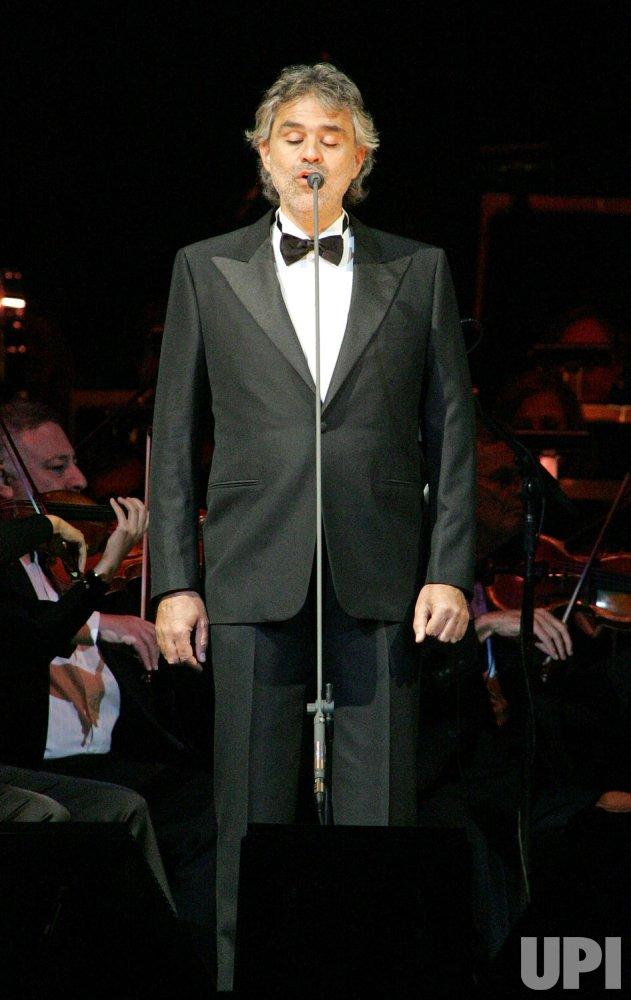 Andrea Bocelli performs in concert in Sunrise, Florida