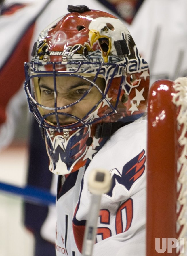 Capitals Goalie Theodore Scowls in Denver