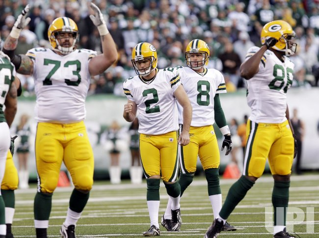 Green Bay Packers kicker Mason Crosby (2) reacts after kicking a field goal at New Meadowlands Stadium in New Jersey