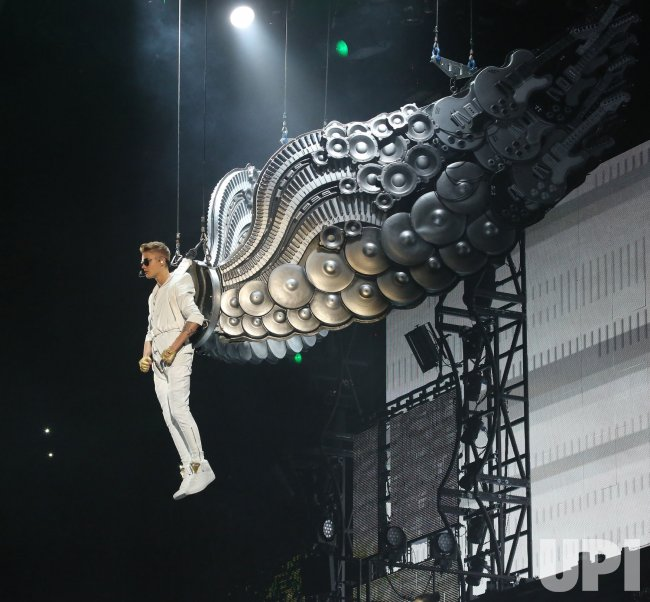 Justin Bieber performs in concert in Paris