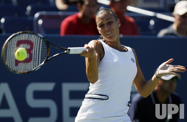 Flavia Pannetta plays Sania Mirza on Day 3 at the US Open Tennis Championships in New York