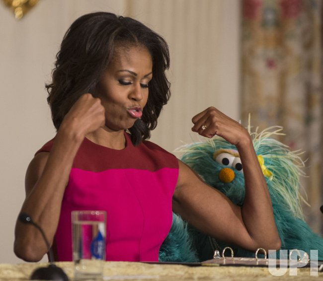 Michelle Obama Promotes Healthier Foods with Elmo and Rosita at the the White House