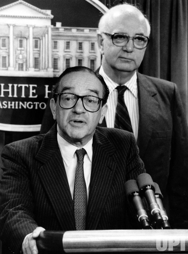 Alan Greenspan announcing that he will replace Paul Volcker as Chairman of the Federal Reserve.