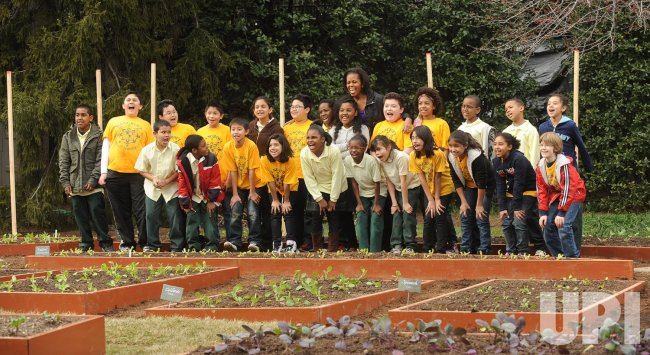 Michelle Obama plants White House Kitchen Garden in Washington