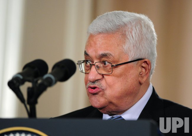 Palestinian Authority President Mahmoud Abbas speaks alongside President Obama in Washington
