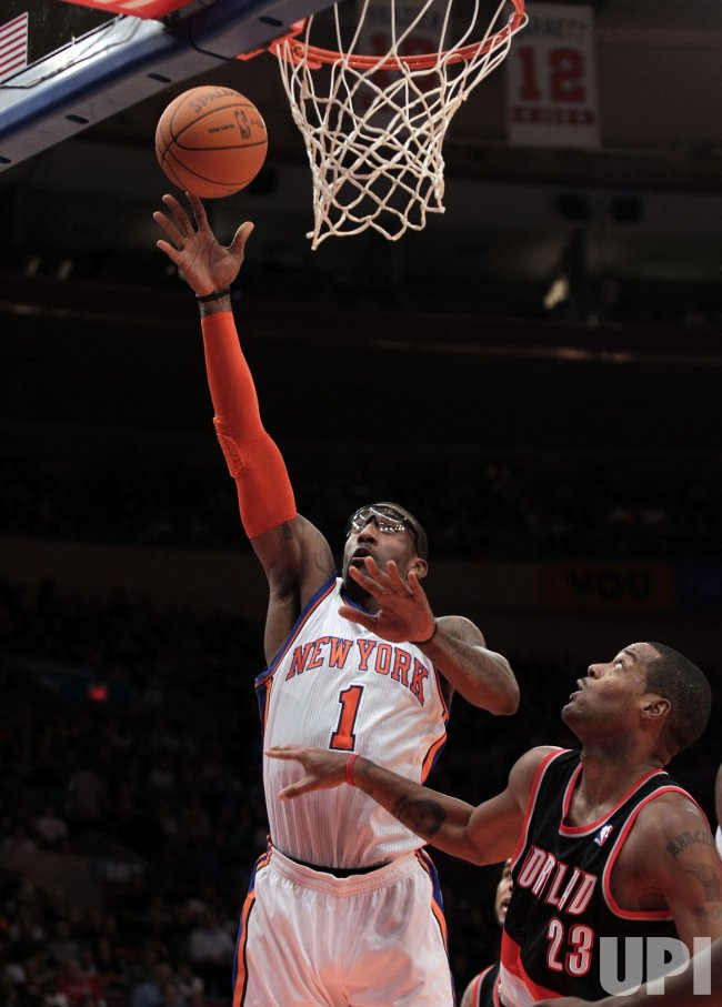 New York Knicks Amare Stoudemire drives to the basket at Madison Square Garden in New York