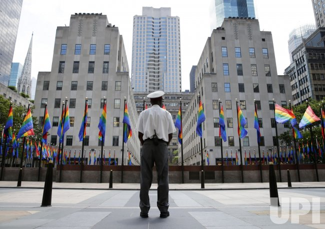 Rainbow Flags Surround The Rink at Rockefeller Center