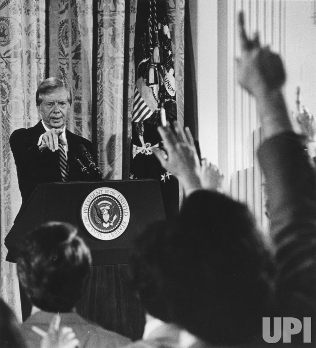 President Jimmy Carter holds a press conference
