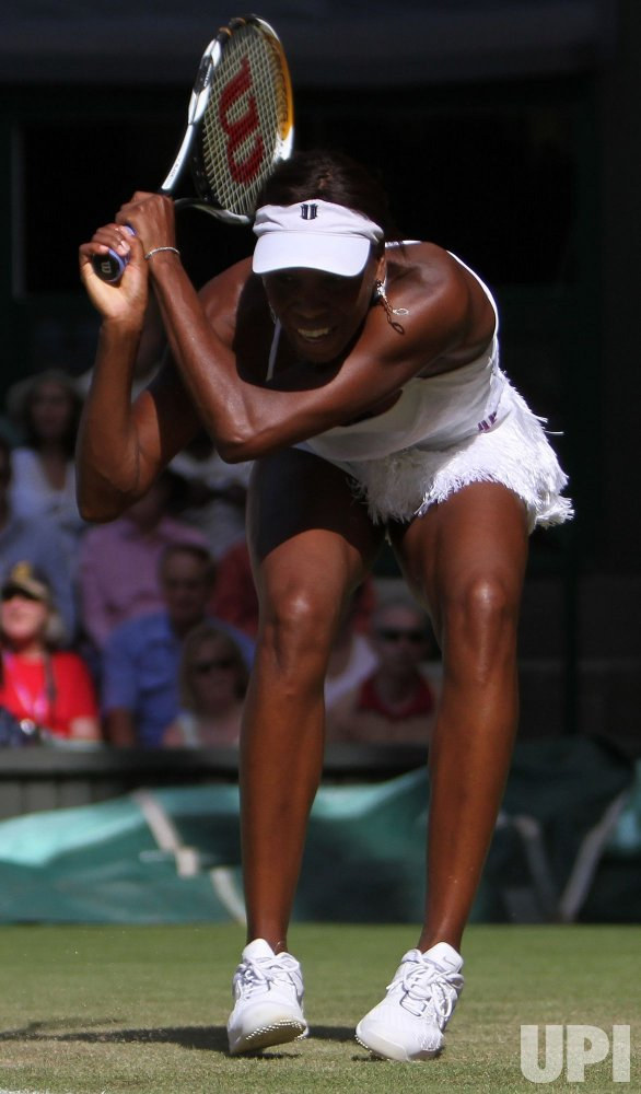 Venus Williams plays against Ekaterina Makarova on the third day of Wimbledon