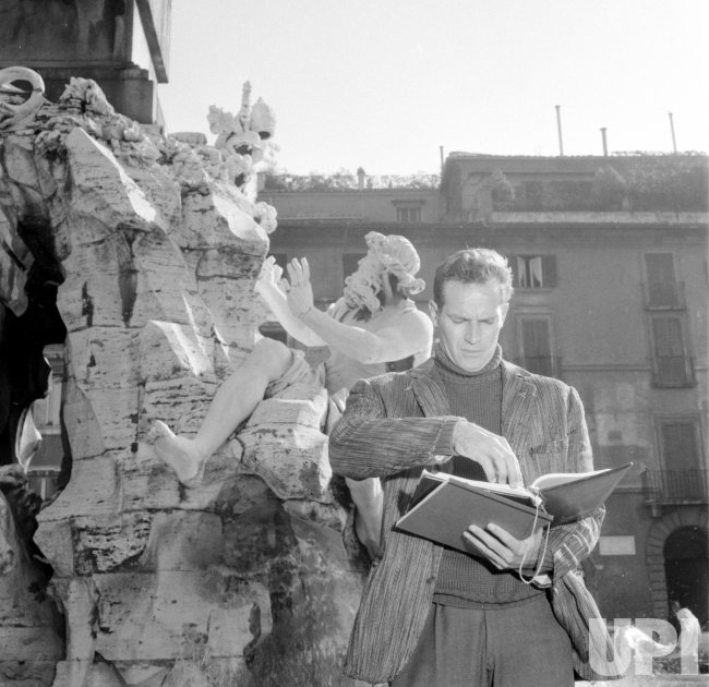 "Actor Charlton Heston during filming of ""The Pigeon That Took Rome"""