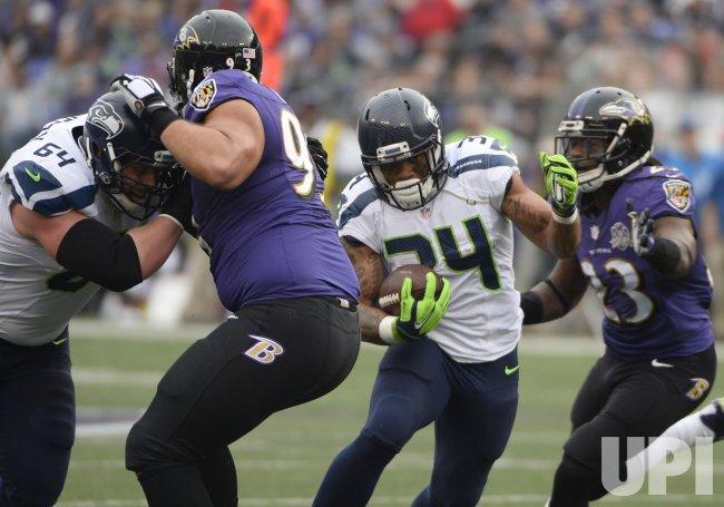 Seattle's Thomas Rawls rushes for short yardage