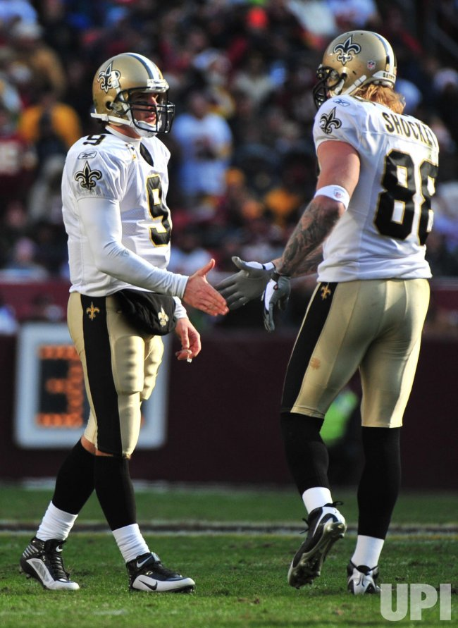 New Orleans Saints' Jeremy Shockey and Drew Brees in Landover, Maryland