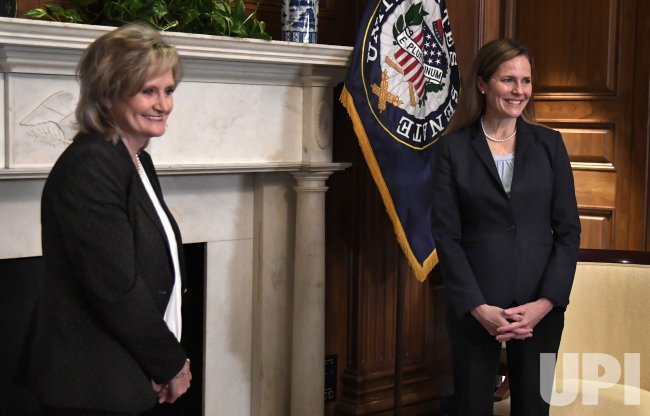 Supreme Court nominee Amy Coney Barrett meets with Sen. Cindy Hyde-Smith