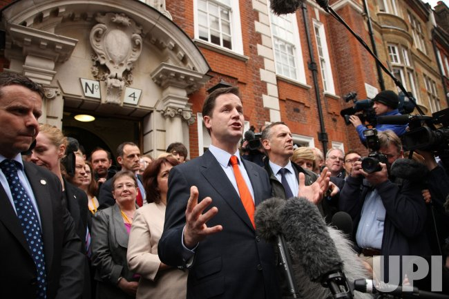 Liberal Democrat leader Nick Clegg talks to the media.