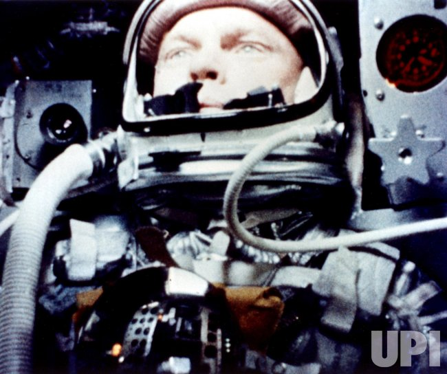JOHN GLENN ABOARD THE FRIENDSHIP 7 SPACE CAPSULE