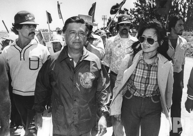 Protest march with United Farm Workers members and its President Cesar Chavez in Salinas, CA