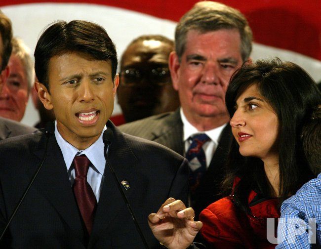 Gubernatorial candidate Bobby Jindal election night in Baton Rouge