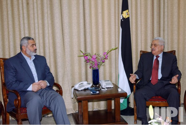 PRESIDENT MAHMOUD ABBAS AND PRIME MINISTER ISMAIL HANIYEH MEET