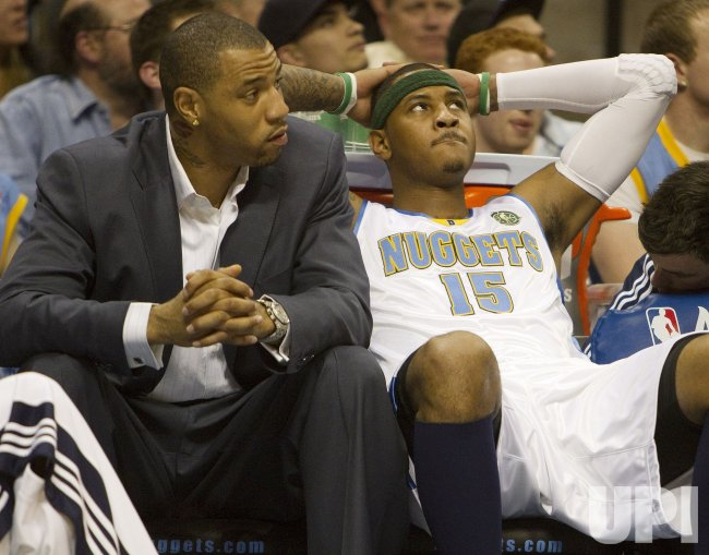 Nuggets Anthony and Martin Sit on the Bench in Denver
